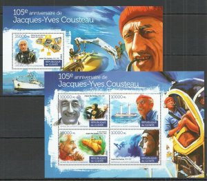 ST146 2015 GUINEA MARINE LIFE 105TH ANNIVERSARY JACQUES YVES COUSTEAU KB+BL MNH