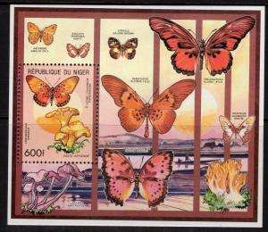 Niger 1991 Sc#828 Butterflies/Mushrooms S/S (1) PERFORATED MNH