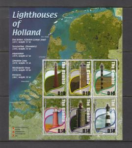 Gambia, 2660, MNH, 2002, Lighthouses of Holand