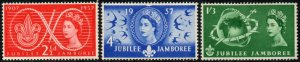 1957 Sg 557/579 World Scout Jubilee Jamboree Set of 3 Mounted Mint