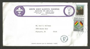 1987 Bolivia Boy Scout Grupo Kantuta Nacional corner ad to US