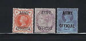 GREAT BRITAIN SCOTT #O54-56 1896 ARMY OFFICIAL OVERPRINTS- MINT LH/HINGED