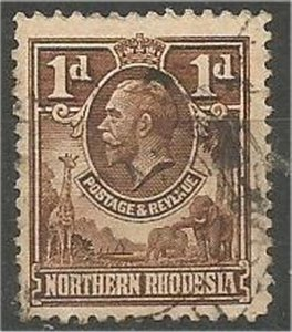 NORTHERN RHODESIA, 1925, used 1p, King George V  Scott 2