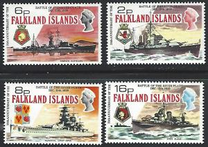 Falkland Islands #237-240 MNH Full Set of 4 Warships cv $23.75