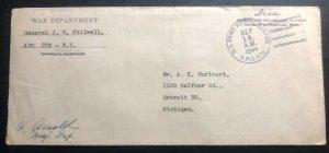 1944 General JW Stilwell US Army Postal Service Cover To Detroit MI USA