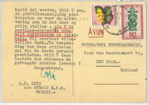 62421 - BELGIAN CONGO Belge - POSTAL HISTORY: POSTCARD to HOLLAND 1953 - Flowers