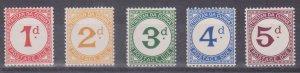 TRISTAN DA CUNHA - J1-J5 1957 Postage Due Set of 5 - Mint Never Hinged