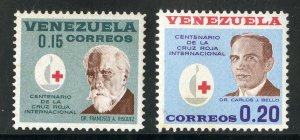 VENEZUELA 845-6 C840-1 MNH SCV $2.70 BIN $1.50 RED CROSS