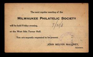 1911 Milwaukee Philatelic Society Used Postal Card - L11704
