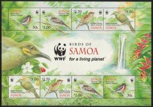 Samoa WWF Robin Triller Starling Honeyeater Birds MS SG#MS1223