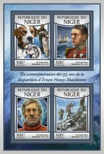 NIGER - 2017 - 95th Death Anniv Ernest Shackleton - Perf 4v Sheet - MNH