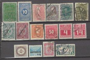 COLLECTION LOT # 3069 AUSTRIA 16 STAMPS 1894+ CV+$25