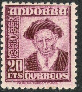 ANDORRA SPANISH ADMIN 1948-53 20c PROVOST Pictorial Sc 40 MH