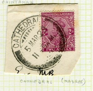 INDIA; POSTMARK fine used cancel on GV issue, Madras Cathedral PIECE