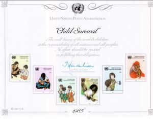 UN SC28 Child Survival Souvenir Card Mint