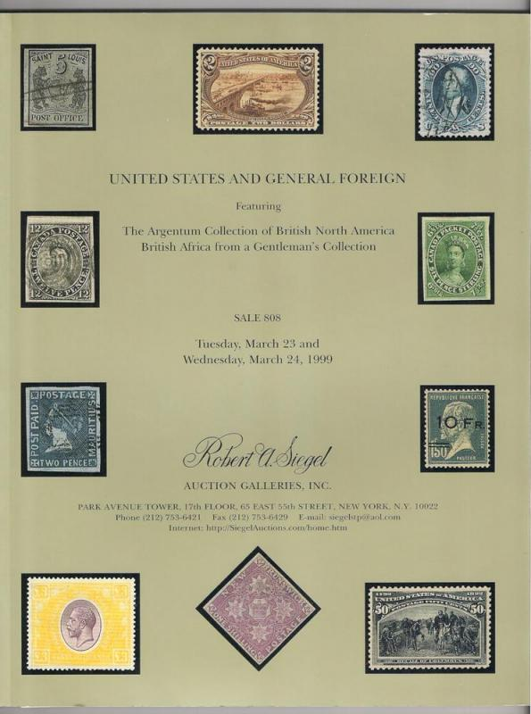 AUCTION CATALOG: Siegel #808 Argentum BNA US Africa