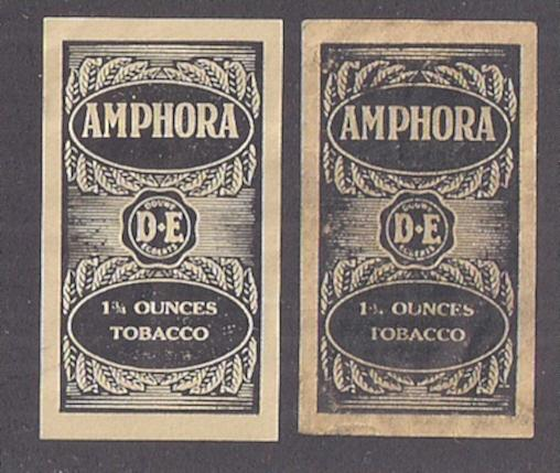 TOBACCO LABELS: Amphora two examples somewhat different shades. Nice pairing.