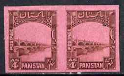 Pakistan 1948-56 Lloyds Barrage 4a imperf proof pair on p...