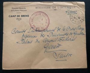1942 France Concentration Internment Camp Brens Police Guard  Cover To Red-cross