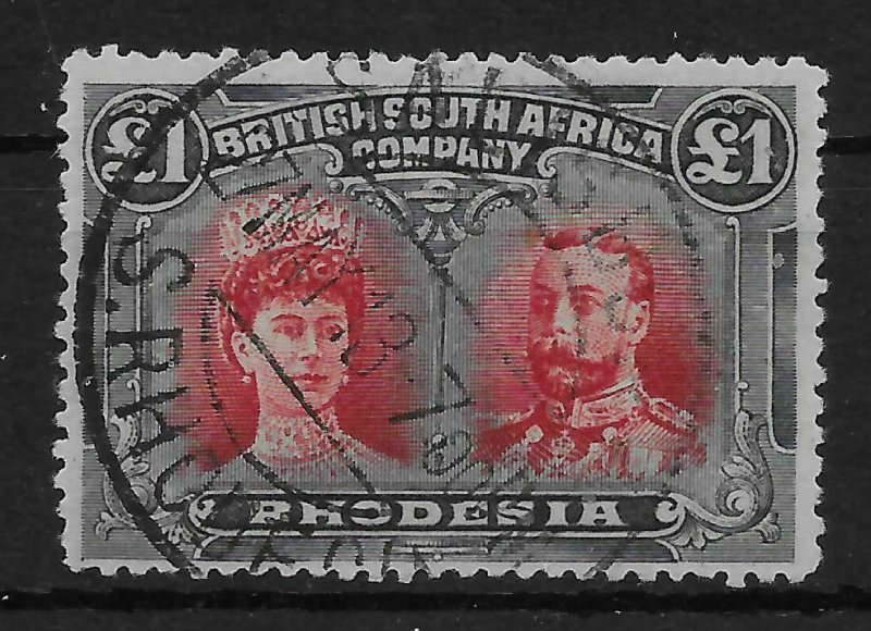 RHODESIA SG165 1910-3 1 CARMINE-RED & BLUISH-BLACK DOUBLE HEAD USED
