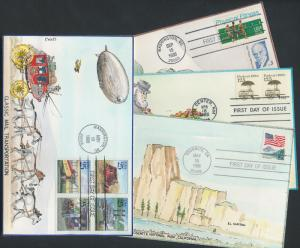 #2133, #2170, #2280, #2437a (4) DIFFERENT C & C HAND PAINTED FDC CACHET BR706