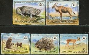 LESOTHO Sc#351-355 1982 WWF Wild Animals Complete Set OG Mint LH