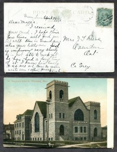 813 - GREENLAWN Alberta 1908 Broken Circle on Winnipeg Postcard to Oxenden Ont
