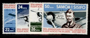SAMOA QEII SG483-486, 1977 anniv of Lindenburgh flight set, NH MINT.