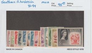 Southern Rhodesia 81-94 VF MNH
