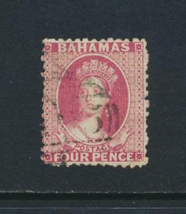 BAHAMAS 1863-77, 4d WMK CC P12½ VF USED SG#23 Sc#13 CAT£45 $59 (SEE BELOW)