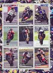 Turkmenistan 2001 Racing Motorcyclists perf sheetlet cont...