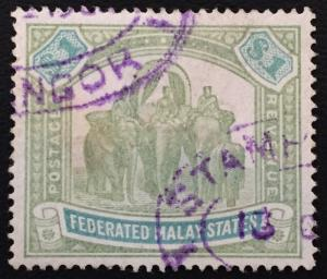 Malaya 1900 FMS Elephants & Howdah $1 Used wmk CC SG#23 CV£190 M1737