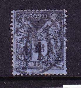 FRANCE 1877-90  1c BLACK/PUSSIAN BLUE P&C  FU  Sg 246  Sc 87