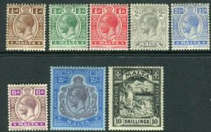 MALTA-1921-2  A mounted mint set to 10/- Sg 97-104