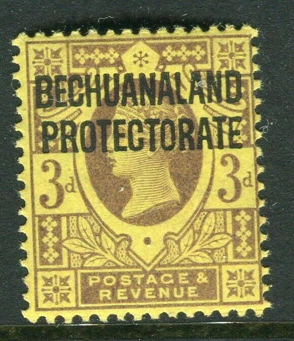 BECHUANALAND; 1897 early QV Optd. issue Mint hinged 3d. value