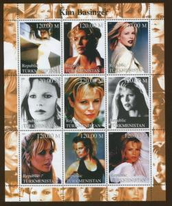 Turkmenistan Commemorative Souvenir Stamp Sheet - Actress Kim Basinger