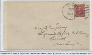 GUAM #6 ON COVER JUNE 14,1905 MANILA TRANSIT CV $450 BS8430 HS108G