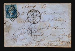 France 1860 Cover / Paris CDS - Z15685