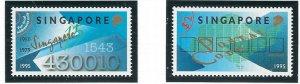 Singapore 727-28 MNH 1995 Six Digit Postal Code (ap6892)