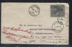DOMINICA  (PP2107B)  1925 KGV 2D TO BAHAMAS, INTERISLAND FWD TO USA