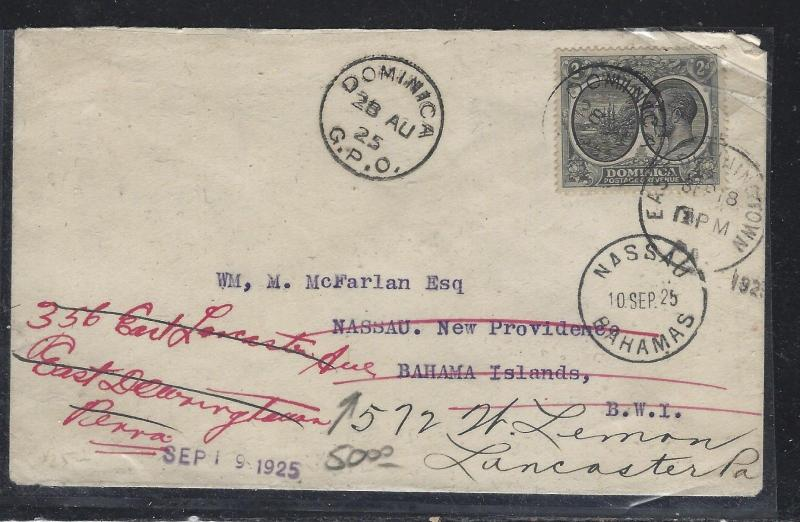 DOMINICA  (PP2107B)  1925 KGV 2D TO BAHAMAS, INTERISLAND FWD TO USA