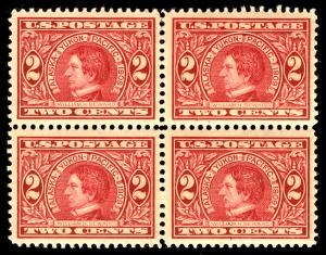 US  #370 VF/XF BLOCK, mint lightly hinged,  well centered block,  super fresh...