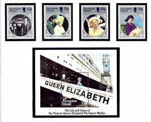 Ascension 372-76 MNH 1985 Queen Mother Birthday