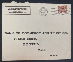 1926 London England Commercial Cover To Bank Of commerce Boston MA Usa