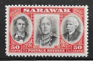 Sarawak 157: 50c Three Brooke Rajahs, MH, F-VF