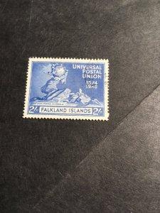 Falkland Island #106 VF Used 2016 Sc. Cat. $8.75 1949 2Sh.Top Value UPU Issue