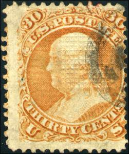 1868 US #100 A30 30c Used F. Grill Stamp Catalogue Value $900