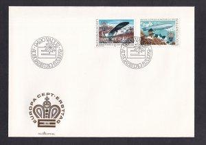 Liechtenstein  #663-664  FDC 1979 Europa airmail service Zeppelin mail plane