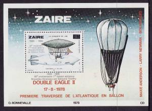 Zaire-Sc#901-unused NH sheet-Space-Double Eagle II-Balloon-
