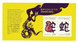 MCI42) Christmas Island 2013 Year of the Snake Minisheet MUH